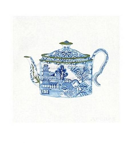 Gold Tipped Blue Willow Tea Pot