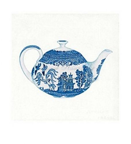 Short Blue Willow Tea Pot