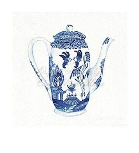 Tall Blue Willow Tea Pot