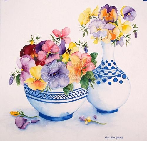 Pansies in Blue and White